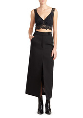 Paco Rabanne Wool Slit Midi Skirt