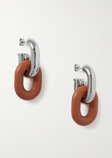Paco Rabanne Xl Link Silver-tone And Leather Earrings
