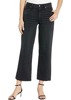 Paige Nellie Culotte Jeans w/ Crossed Back Belt Loops and Raw Hem in Black Sand