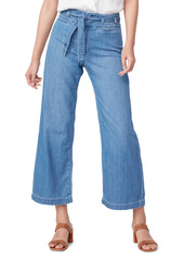 PAIGE Anessa Nonstretch Belted Crop Wide Leg Jeans (Whitten)