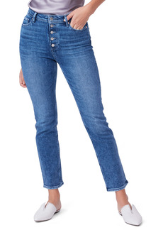 PAIGE Cindy Exposed Button High Waist Ankle Straight Leg Jeans (Skysong)