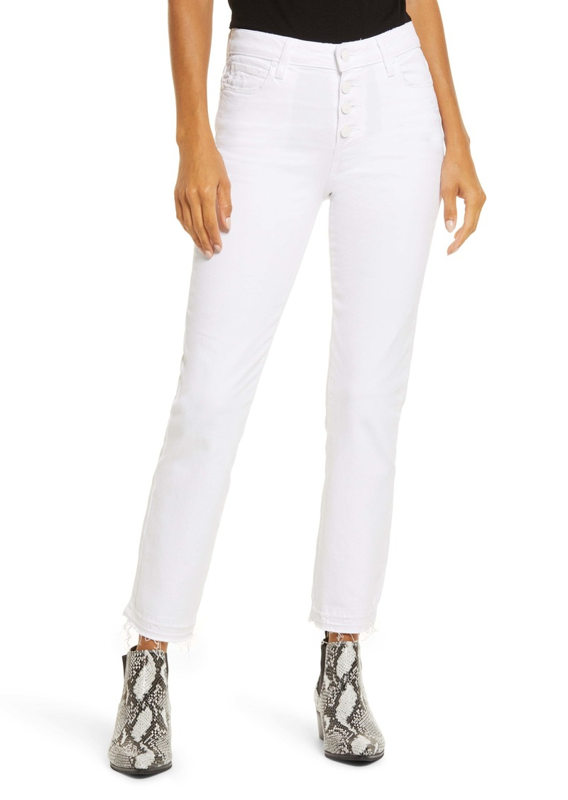 PAIGE Cindy High Waist Crop Straight Leg Jeans (Cool White Distressed)