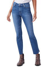 PAIGE Cindy High Waist Split Raw Hem Straight Leg Jeans (Roadhouse)