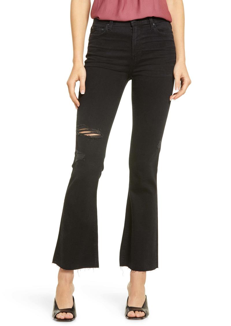 PAIGE Claudine High Waist Raw Hem Flare Leg Jeans (Slater Destructed)