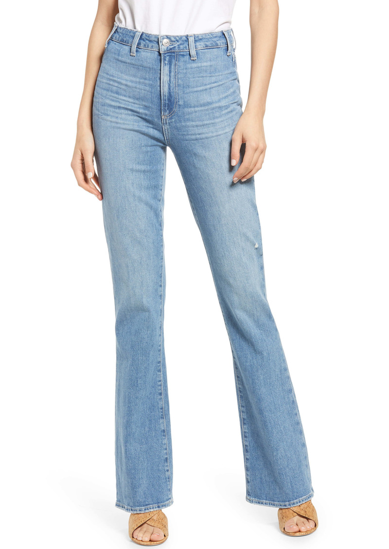 PAIGE Clean Front Ultra High Waist Flare Jeans (Skya Distressed)