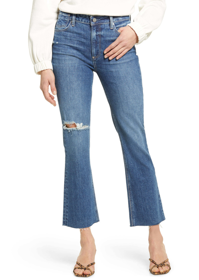 PAIGE Colette High Waist Raw Hem Crop Flare Jeans (Blaine Destructed)