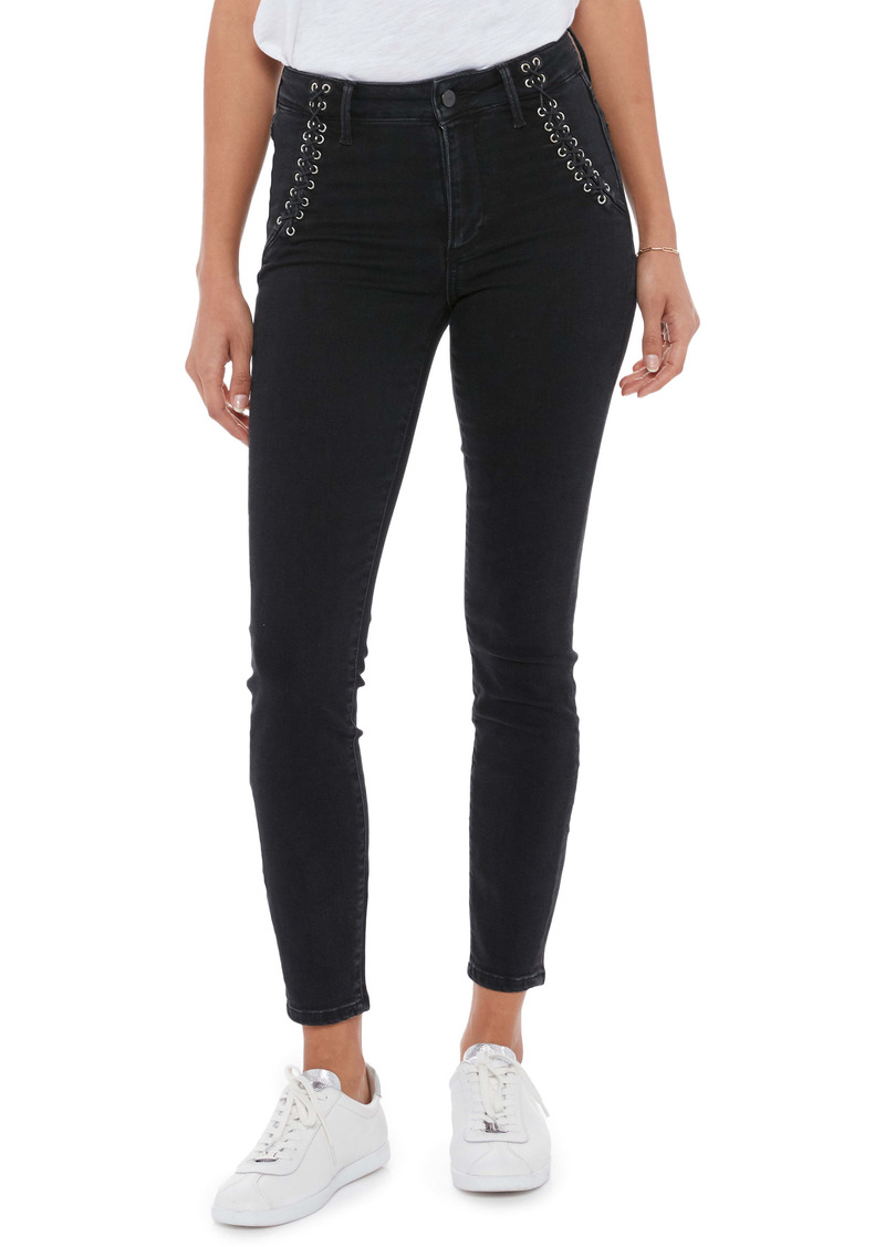 PAIGE Hoxton Lace-Up Ankle Skinny Jeans (Lights Out)