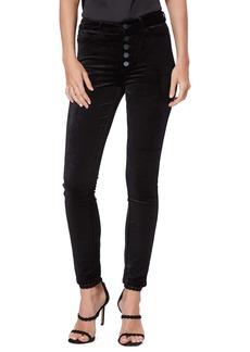 PAIGE Hoxton Velvet Ankle Pants (Black Overdye)