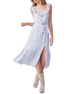 PAIGE Kiarra Tie Waist Ruffle Hem Midi Dress