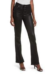 PAIGE Manhattan High Waist Coated Bootcut Jeans (Black Fog Luxe)