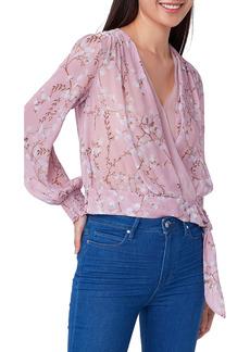 PAIGE Margherita Floral Tie Hem Silk Top