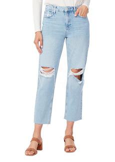 PAIGE Noella Straight Leg Raw Hem Jeans (Doretta Destructed)
