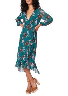 PAIGE Palazzo Print Long Sleeve Silk Wrap Dress