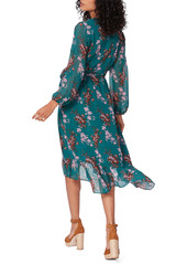 PAIGE Palazzo Print Long Sleeve Silk Wrap Dress