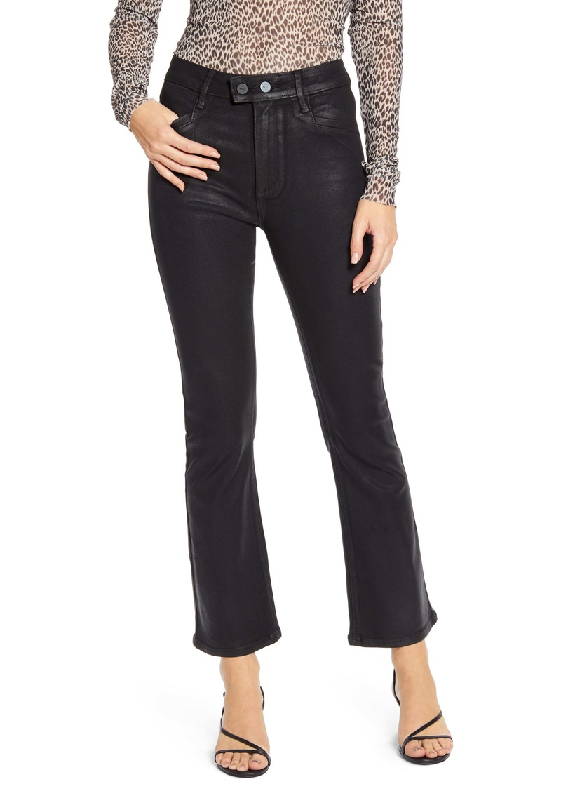 PAIGE Transcend - Claudine Coated Double Button High Waist Ankle Flare Jeans (Black Fog Luxe Coating)