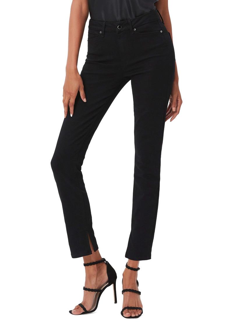 PAIGE Transcend Constance Slit Hem High Waist Skinny Jeans (Boss Black)
