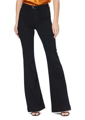 PAIGE Transcend Genevieve High Rise Buckle Flare Jeans (Black Shadow)