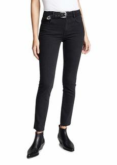 PAIGE Women's Hoxton Ankle Peg Jeans with Belt  Black
