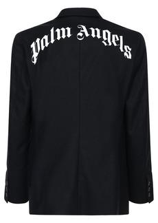 Palm Angels Logo Printed Retro Wool Blend Jacket