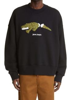 Palm Angels Embroidered Croco Logo Sweatshirt