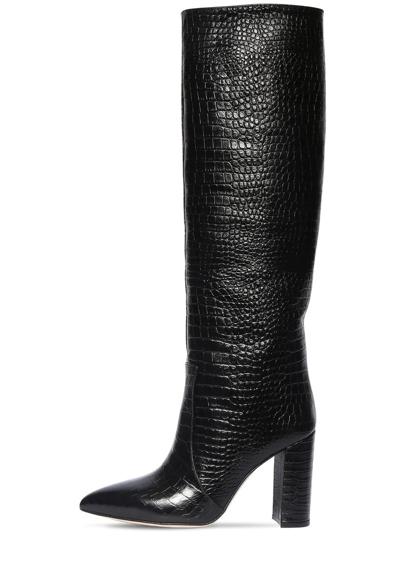 Paris Texas 100mm Croc Embossed Leather Tall Boots