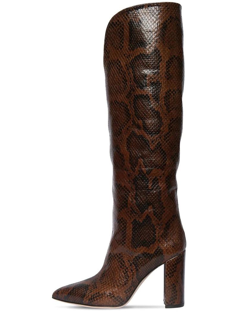 Paris Texas 100mm Python Print Leather Tall Boots