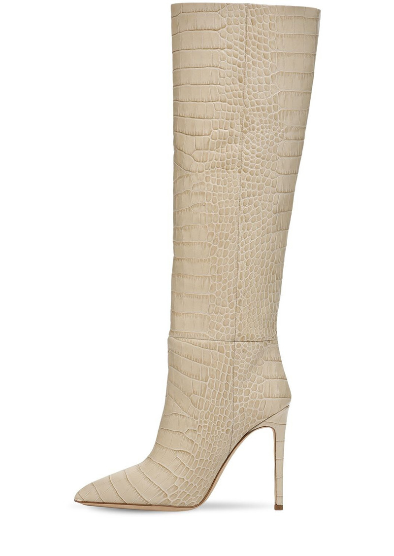 Paris Texas 105mm Croc Embossed Leather Tall Boots
