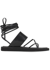 Paris Texas 20mm Python Print Leather Thong Sandals