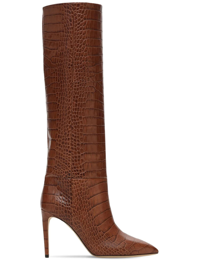 Paris Texas 85mm Croc Embossed Leather Tall Boots