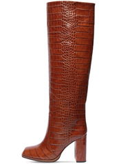 Paris Texas 90mm Croc Embossed Leather Tall Boots