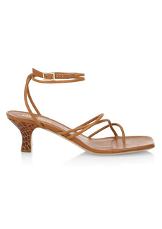 Paris Texas Betty Snakeskin-Embossed Leather Sandals