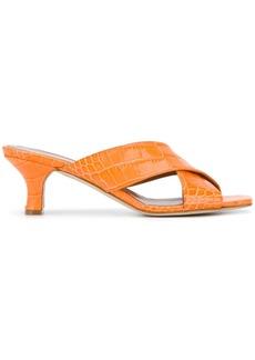Paris Texas cross strap heeled sandals