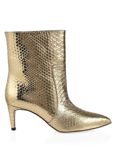 Paris Texas Metallic Python-Embossed Leather Ankle Boots