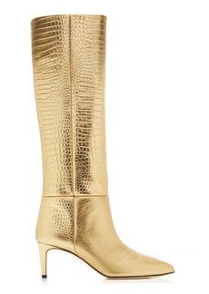 Paris Texas - Women's Croc-Effect Metallic Leather Tall Boots - Gold - Moda Operandi