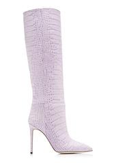 Paris Texas - Women's Croc-Embossed Leather Boots  - Purple/pink - Moda Operandi