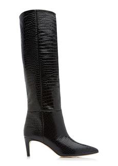 Paris Texas - Women's Croc-Embossed Leather Knee Boots - Black - Moda Operandi