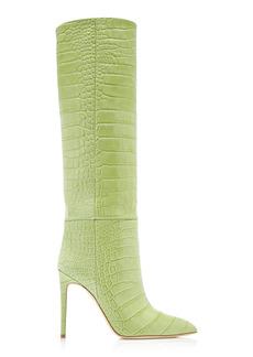 Paris Texas - Women's Croc-Embossed Leather Knee Boots - Green - Moda Operandi