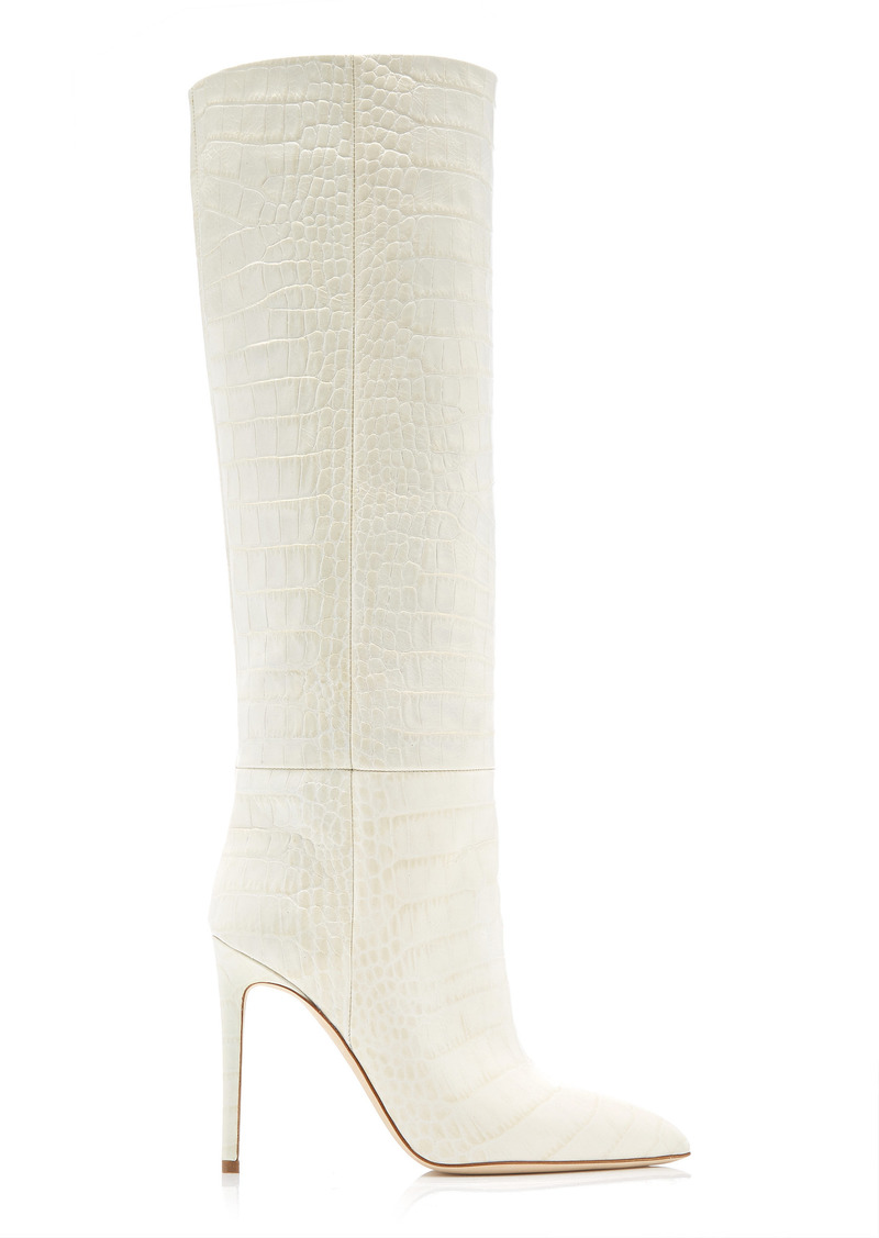 Paris Texas - Women's Croc-Embossed Leather Knee Boots - White - Moda Operandi