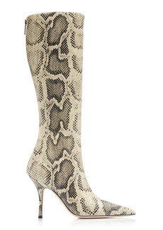 Paris Texas - Women's Mama Python-Print Leather Knee Boots - Animal - Moda Operandi