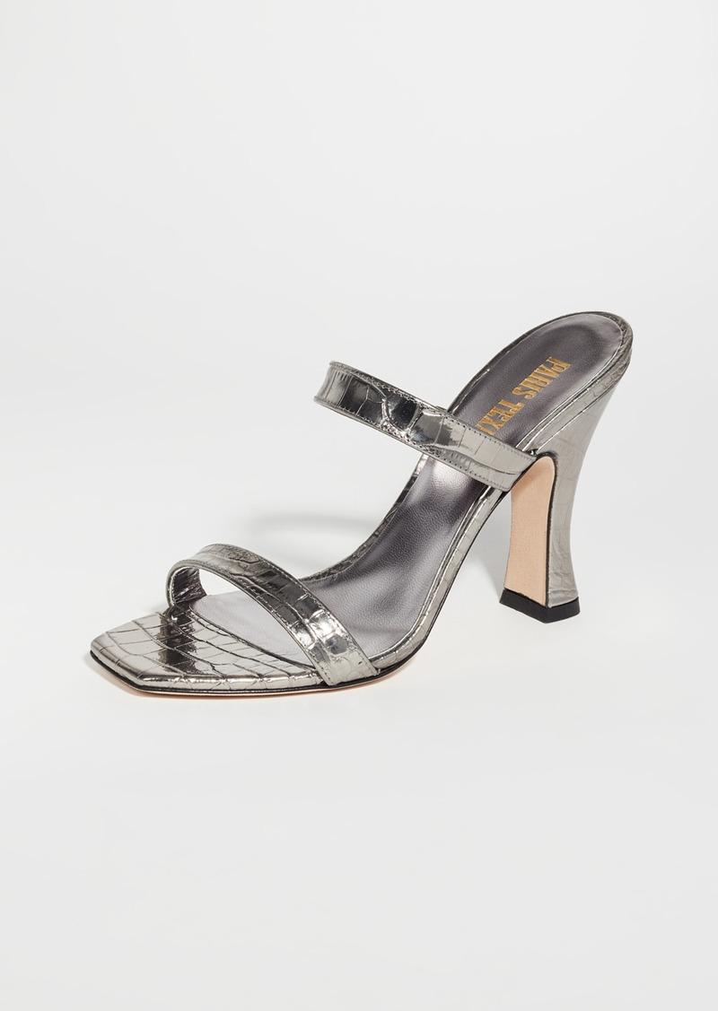 Paris Texas Metallic Croco 2 Strap Mule Slides