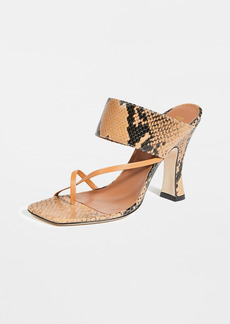 Paris Texas Python Print Crossover Thong Sandals
