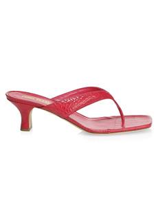 Paris Texas Portofino Snakeskin-Embossed Leather Thong Sandals