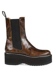 Paris Texas Python-Embossed Leather Platform Chelsea Boots