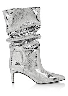 Paris Texas Slouchy Metallic Snakeskin-Embossed Leather Boots
