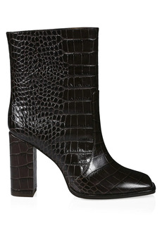 Paris Texas Square-Toe Croc-Embossed Leather Ankle Boots