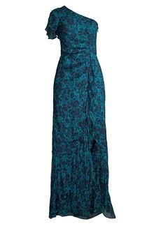 Parker Grace Ann Printed Silk Ruffled One-Shoulder Dress