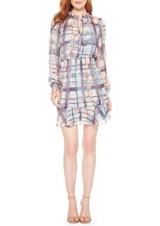 Parker Tie Dye Plaid Long Sleeve Silk Dress
