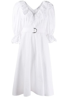 P.A.R.O.S.H. belted lace-trim midi dress