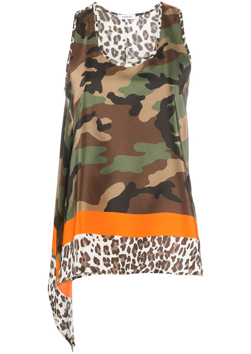 P.A.R.O.S.H. camouflage-print sleeveless top