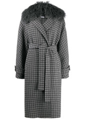 P.A.R.O.S.H. fur-collar belted trenchcoat